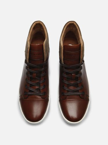Leather Mid Top Sneaker, BROWN COMBO