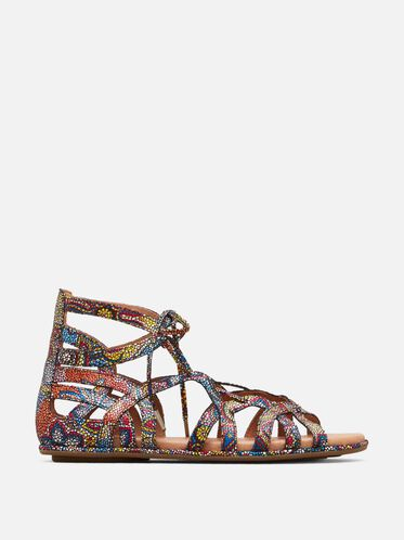 BREAK MY HEART LEATHER GLADIATOR SANDAL, MULTI