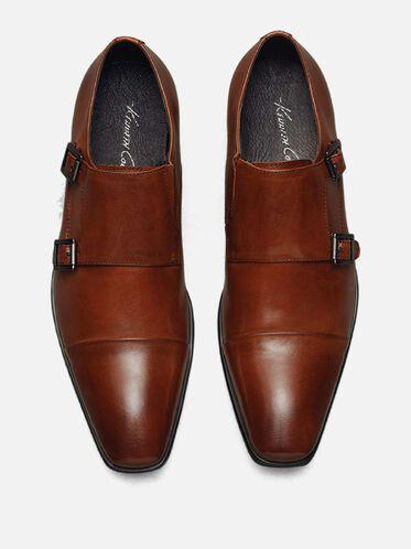 Regal Bearing Leather Monk Strap Dress Shoe, COGNAC
