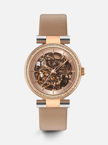 Brown Leather Automatic Skeleton Watch, NO COLOR