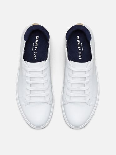 Womens Kam Leather Sneaker, WHITE/NAVY