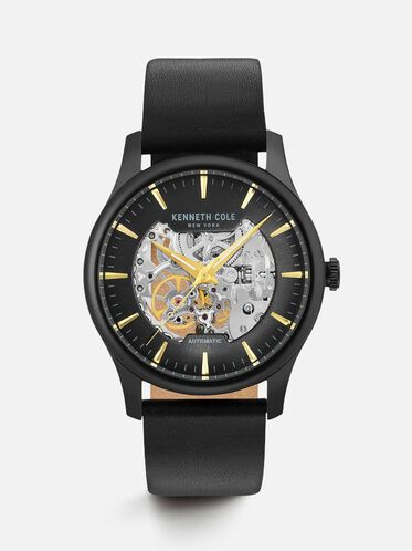 Black Leather Automatic Skeleton Watch, NO COLOR