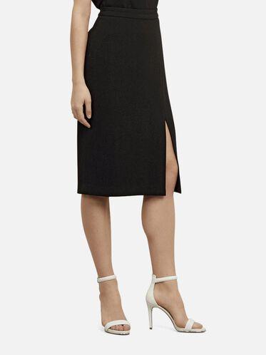Crepe Woven Skirt, BLACK, hi-res