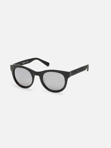 Shiny Black Oversized Sunglasses, SBLK/SMKMR
