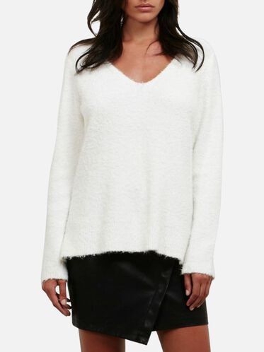 Boucle V-neck Sweater, WNTR WHT
