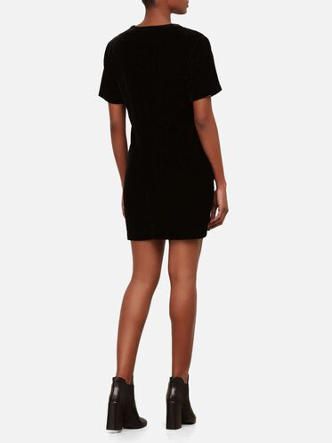 Zip Shoulder T-Shirt Dress, BLACK