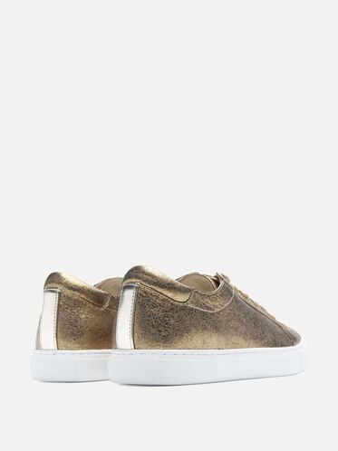 Womens Kam Leather Sneaker, GOLD
