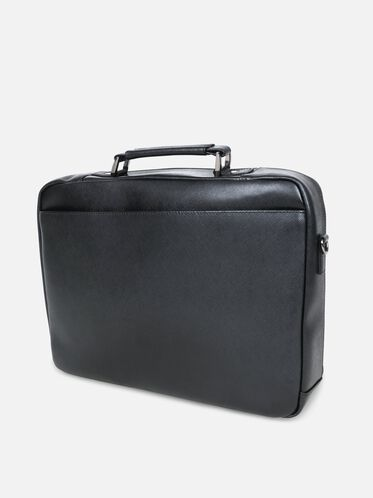 Saffiano Leather Single Gusset Computer Case, BLACK