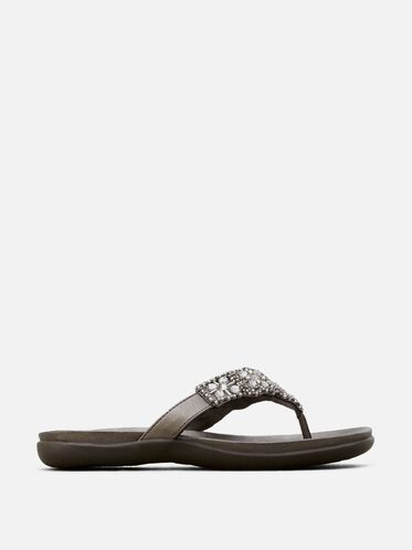 Glam-Athon Beaded Sandal, PEWTER