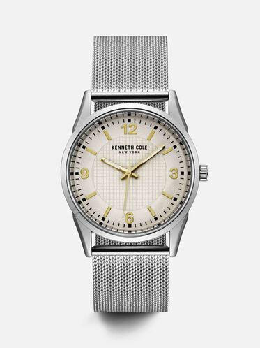 Mixed Materials Round Watch, NO COLOR