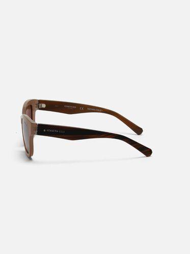 Techni-Cole Milky Taupe Cateye Sunglasses, LBRNO/BRNPZ