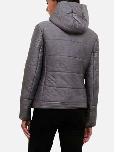 Puffer Jacket With Removable Hood, HTHR PRNT