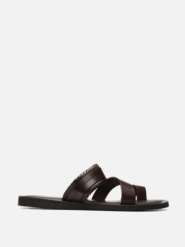 Woven Leather Toe-ring Sandal, BROWN