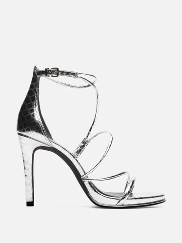 Bryanna Metallic Print Strappy Heel, SILVER
