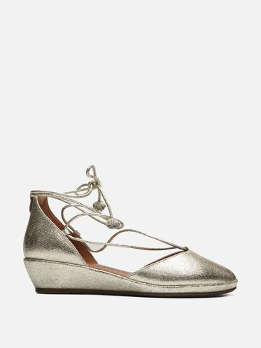 Nerissa Metallic Leather Lace-up Flat, SOFT GOLD