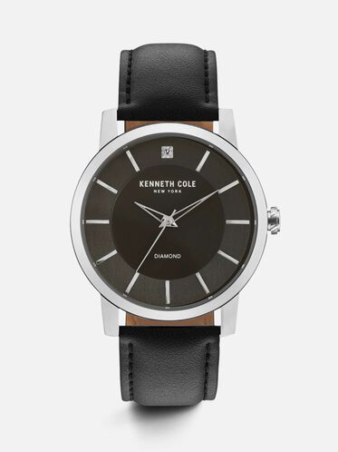 Black Leather Round Watch, NO COLOR