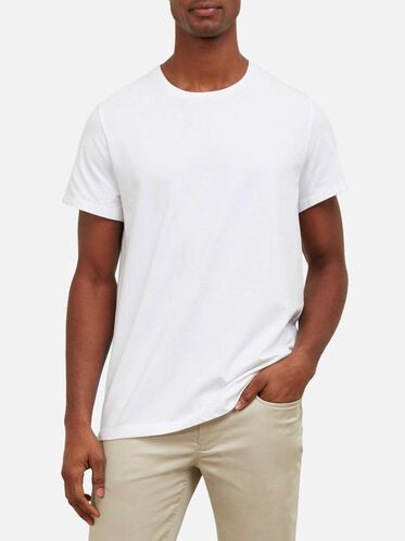 Solid Crew Neck T-Shirt, WHITE