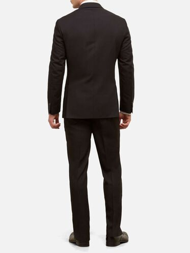Slim-Fit Nested Suit with Unfinished Hem, 001BLACK