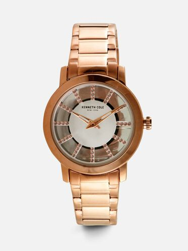 Rose Gold-Tone Transparent Round Stone Watch, NO COLOR