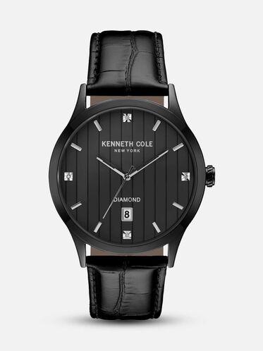 Black Watch With Croco Embossed Strap, NO COLOR, hi-res