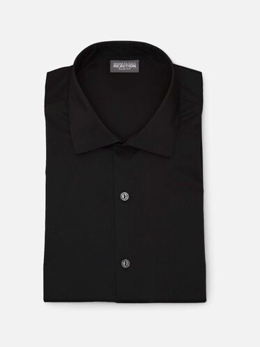 Slim Fit Solid Dress Shirt, BLACK