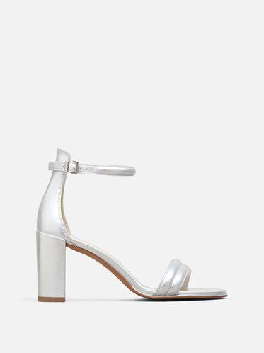 Lex Open-Toe Metallic Heel, SILVER