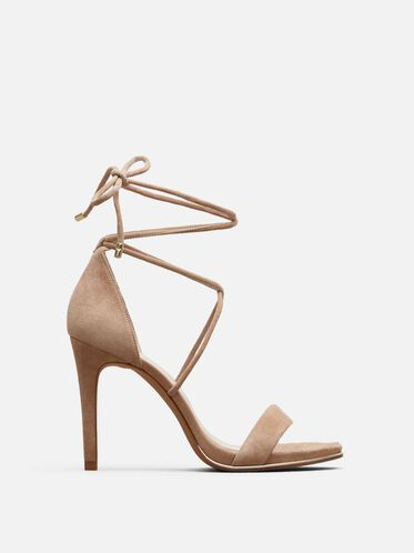 Berry Suede Ankle-Wrap Heel, ALMOND