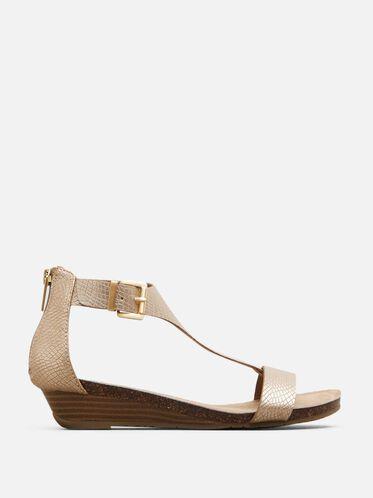 Great Gal Metalic T-Strap Wedge Sandal, SOFT GOLD, hi-res