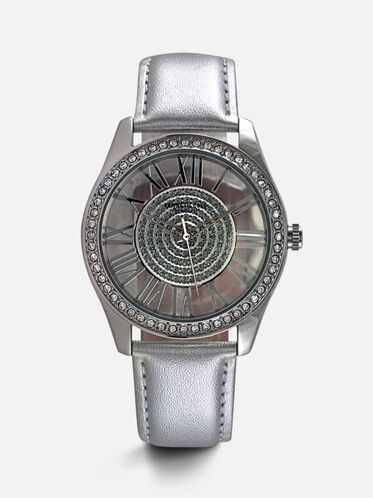 Silver Leather Round Stone Watch, NO COLOR