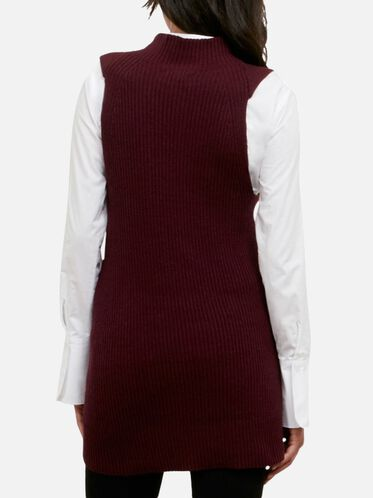 Sleeveless Mock Neck Sweater, RUBYWOOD, hi-res