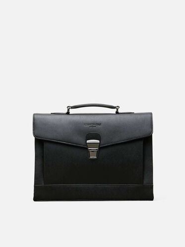 Saffiano Leather Document Case, BLACK