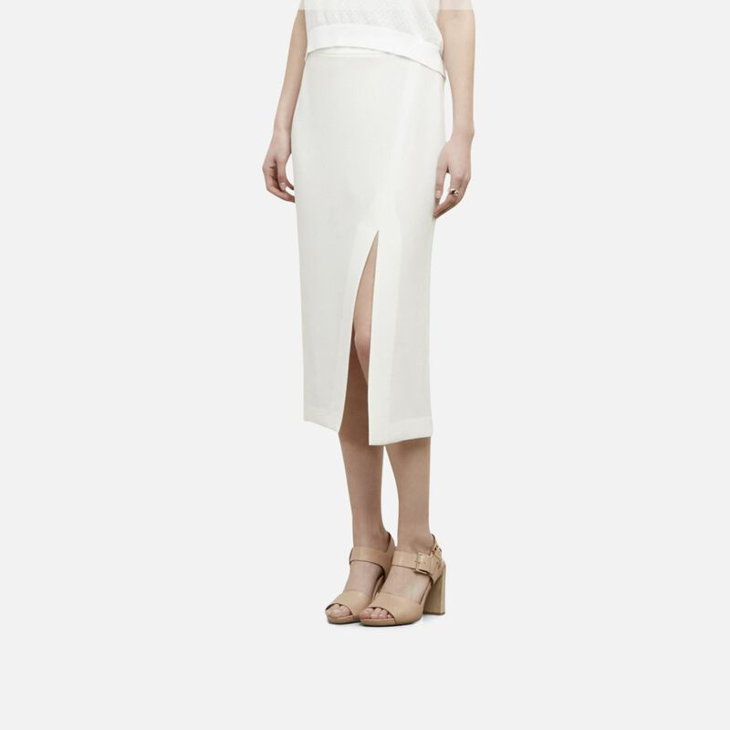 kenneth cole new york female 45883 kenneth cole new york crepe woven skirt womens white