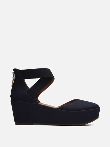 Nyssa Nubuck Platform Zip Up Flat, NAVY