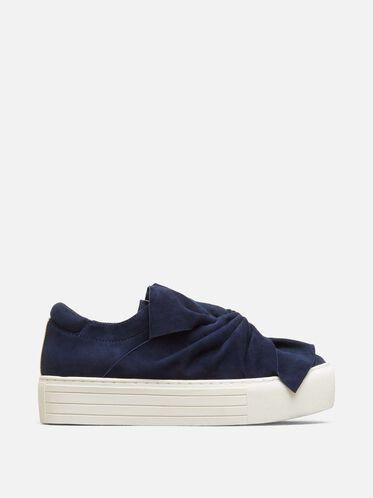 Aaron Suede Platform Sneaker, NAVY