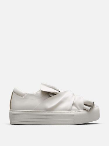 Aaron Leather Platform Sneaker, WHITE