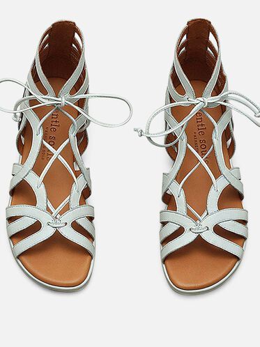 BREAK MY HEART LEATHER GLADIATOR SANDAL, PALE BLUE