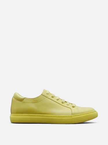 Womens Kam Leather Sneaker, LEMON
