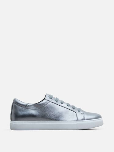 Womens Kam Leather Sneaker, PEWTER