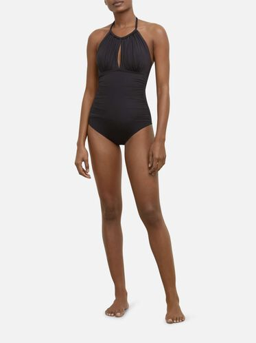 Weave Your Own Way High-Neck One-Piece, BLACK
