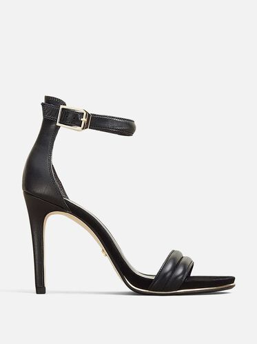 BROOKE OPEN-TOE LEATHER HEEL, BLACK