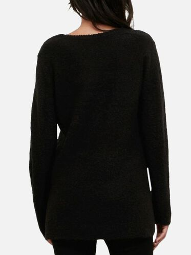 Boucle V-neck Sweater, BLACK