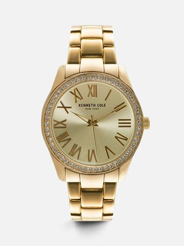 Classic Gold-Tone Round Watch, NO COLOR