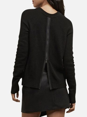 Back Zipper Pullover Sweater, BLK/CHARCOAL