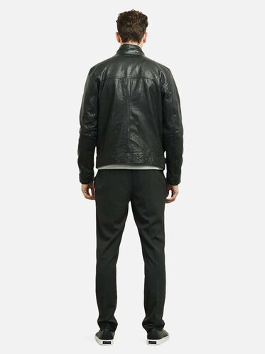 Leather Aviator Jacket, BLACK