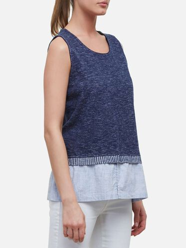 Knit Denim Tank, CITY BLUE-WH
