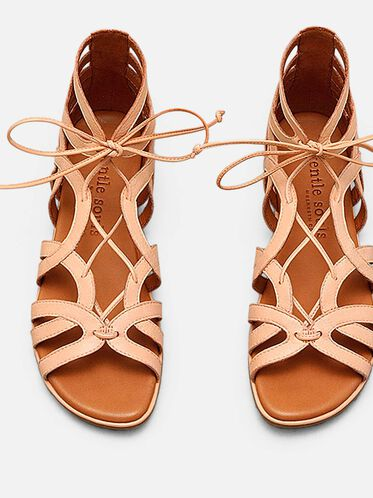 BREAK MY HEART LEATHER GLADIATOR SANDAL, CORAL