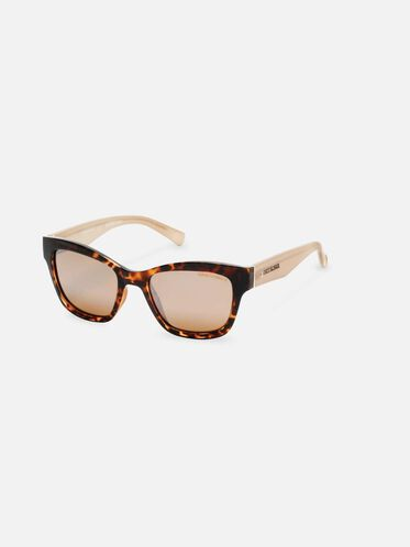 Techni-Cole Black Cateye Sunglasses, SBLK/BRNPZ