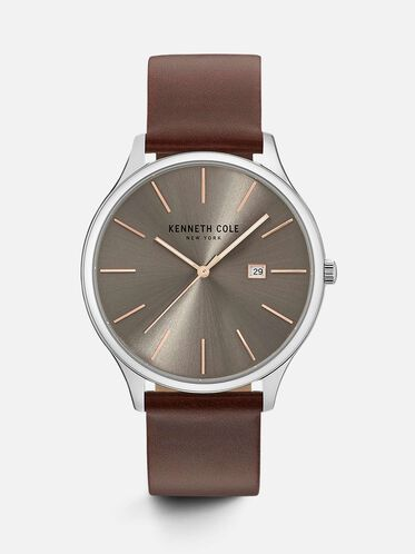 Classic Silver-tone Genuine Leather Watch, NO COLOR