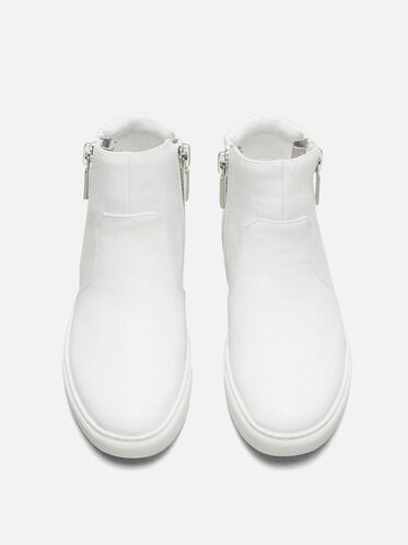 Kiera Leather  Sneaker, WHITE, hi-res