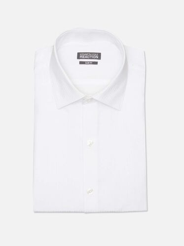 Long Sleeve Slim Fit Dress Shirt, WHITE